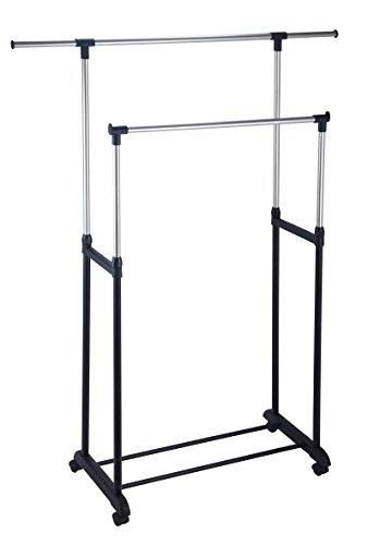 King home stender appendiabiti doppio estensibile con ruote, misure: 82,5/125x42,5x97/170h, , nero