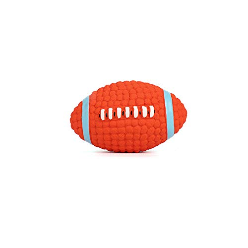 KDSANSO Gummibälle Hund,Hunds-Bouncy-Ball beißen beständiger und unzerstörbarer Hundetrainings-Ball, Haustier Gummi Bouncy Ball(Rugbyball),Orangen Diam 14cm