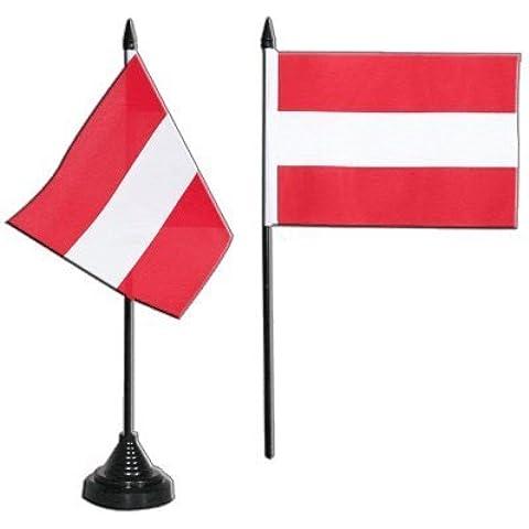 Digni Austria 3201 - Bandera de mesa 10 x 15 x 30 cm, poliéster, con base de plástico color negro, diseño de la bandera de Austria