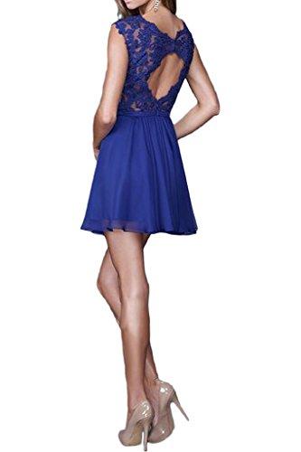 Ivydressing Damen Elegant A-Linie Chiffon&Spitze V-Ausschnitt Brautjungfernkleider Partykleid Promkleid Abendkleid Royalblau