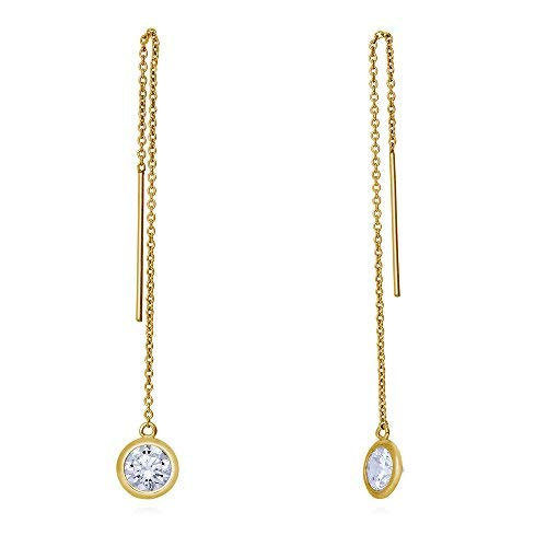59b8cfa34b5f BERRICLE Yellow Gold Flashed Sterling Silver Cubic Zirconia CZ Fashion  Threader Earrings