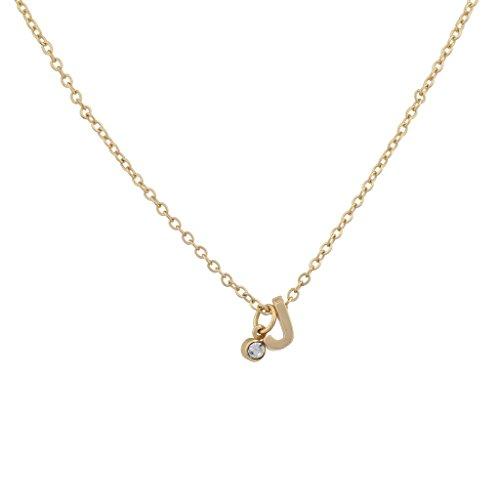 LUX Zubehör Gold Ton Personalisierte J Initiale Charm matt Halskette (Charms Initial)
