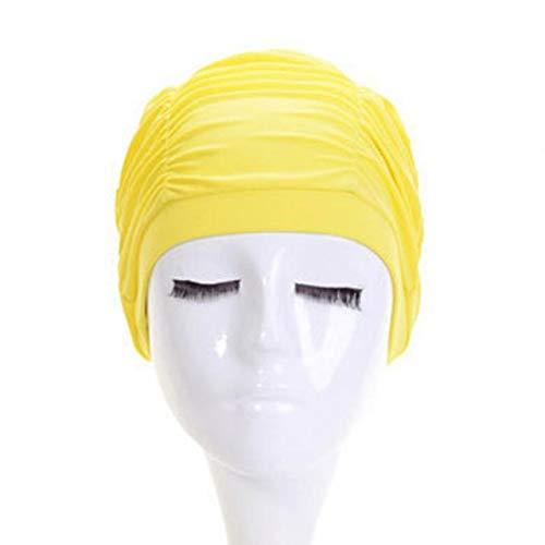 HATCHMATIC Frauen-Mädchen-Schwimmen Mütze Hut Haar Earmuffs Kopf Anti-UV Nylon Strand Pool Schwimmen Tauchen Ruffle Kappe Schwimmzubehör # 925: Gelb