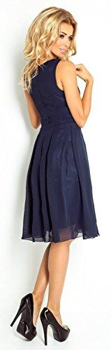 Glamour Empire Damen Chiffon Schaukel Kleid Skaterkleid Tiefem V-Ausschnitt. 253 Marine