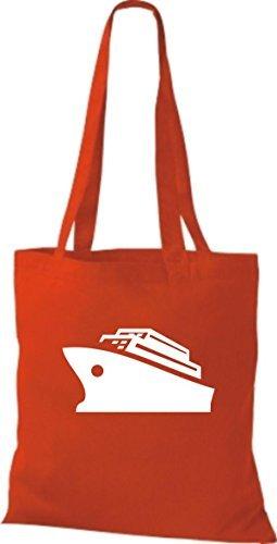 JUTA Borsa di stoffa CROCIERA, Nave, Nave passeggeri Rosso