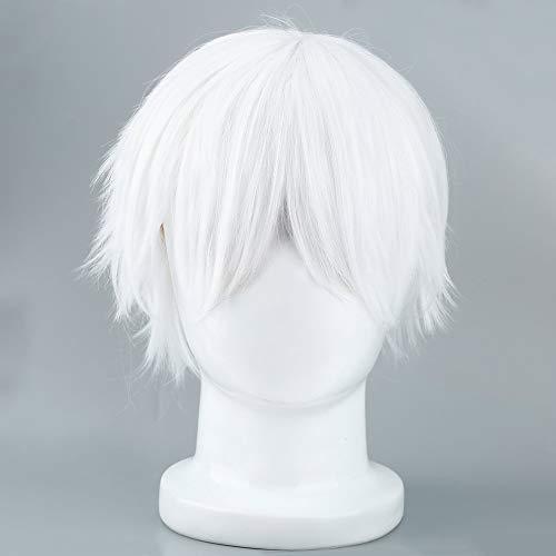 Mouchao Männliche weiße Perücke für Cosplaying Anime Charaktere gerade Kurze synthetische Perücken