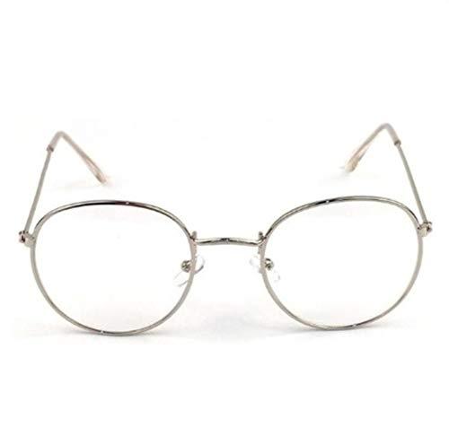 XSHY Designer Woman Brillen Optische Rahmen Metall Runde Brillengestell Klare Linse Brillen Schwarz Silber Gold Brillenglas (Frame Color : Silver)