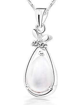Findout Sterling Silber oder Titan Stahl Zirkonia Eule Elefant Herzform Kristall Anhänger Halskette. Weihnachten...