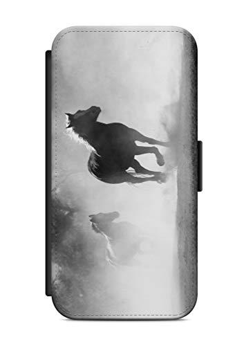 aina Kompatibel mit iPhone 7 Flipcase Handytasche Hülle mit Magnetverschluss auffklappbar Pferd Motiv Bild