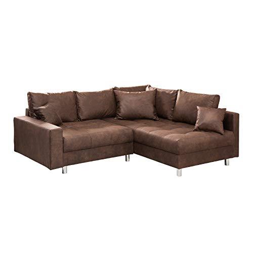 Riess Ambiente Ecksofa Kent 220cm braun Federkern inkl. Hocker und Kissen Sofa Couch Ottomane beidseitig aufbaubar (Großes Microfaser-ottomane)