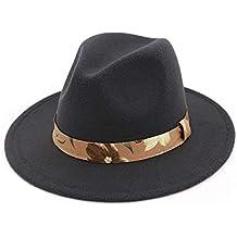 HYXUM Sombrero de Fieltro Sombreros Estilo Panamá Sombrero Fedora y  borsalino con Cinta Dorada Wi feb706daf30