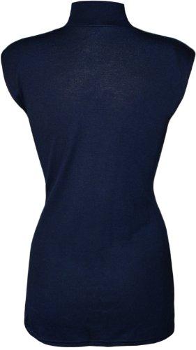 WearAll - Grande taille uni débardeur top avec col roulé - Hauts - Femmes - Tailles 44 à 50 Bleu Marine