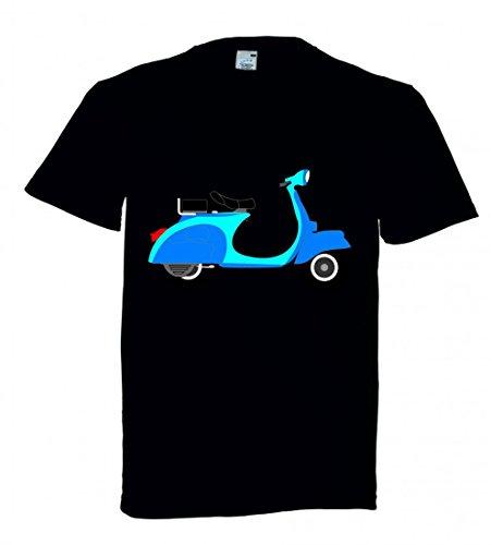 """T-Shirt """"MOTORROLLER- BLAU- ZWEIRAD- FAHRZEUG- VERKEHR- MOBIKE- SLOGAN AUFKLEBER- SOZIUS- SITZ- GRIFF- RAD"""" in Schwarz für Herren- Damen- Kinder"""