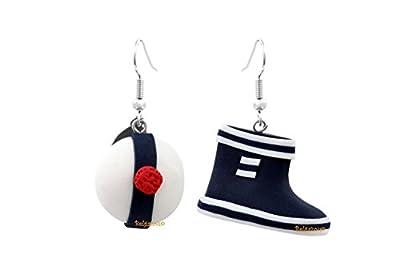 """Lady-Charms - Fait main - Boucles d'oreilles""""Botte bleue & béret de marin"""""""