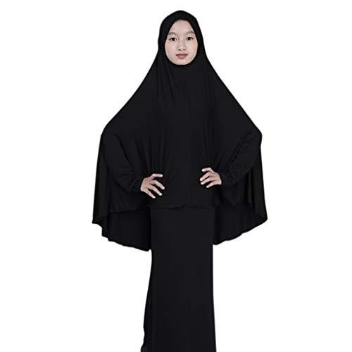QinMM M-Muslim Teen Jungen Mädchen Volltonfarbe Kleid Zweiteiliges Set - Naher Osten Gestickte Robe Langarm Saudi Islamische Traditionelle Ethnische Kostüm Lang Maxi Rock Einfarbig Passend ()