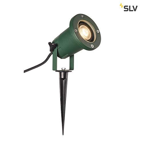 SLV LED Strahler NAUTILUS XL mit Erdspieß | Außenlampe zur Beleuchtung von Garten, Terrasse, Pflanzen, Wegen, Teich | Aussen-Leuchte, Außen-Strahler | IP65, GU10, 1,5 m Kabel mit Stecker, Aluminium - Slv Led