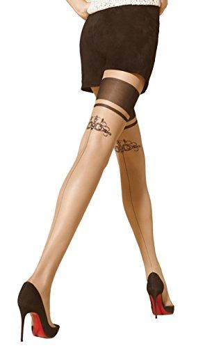 Marilyn schicke Strumpfhose im halterlosen Look mit Naht und dezentem Motive, 20 Denier, Größe 36/38 (S/M), Farbe Beige (visone & black)