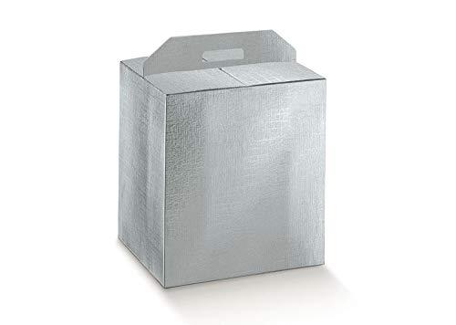 3 scatole cm.43x24x35h robuste strenne natalizie fino a 7 kg cartone accoppiato e maniglia esterna argento