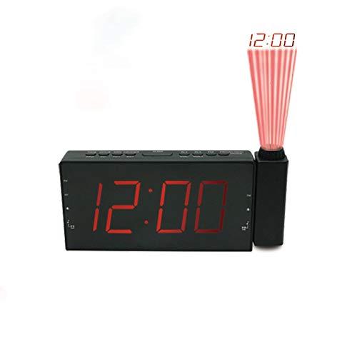 KIOio Reloj de proyección, 3 atenuadores, alarmas Dobles, Puerto de Carga USB, alimentación de Salida y batería de Respaldo, Radio FM (Color : Red)