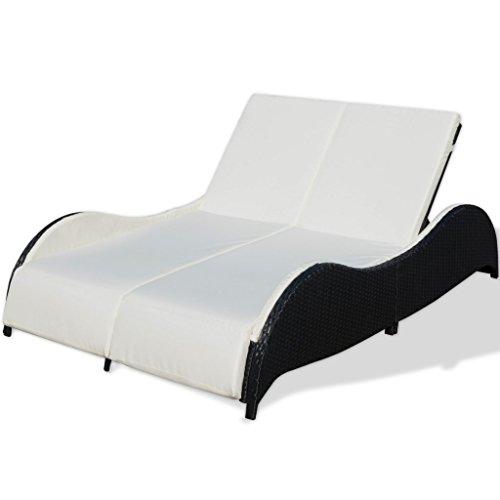 vidaXL Doppel Sonnenliege Poly Rattan Gartenliege Relaxliege Lounge Rattanmöbel