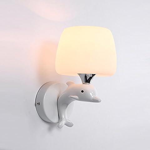 LLHZ-Simple Dolphin resina moderna cama niño paredes lámpara de pared blanco cálido salón dormitorio lámpara de pared