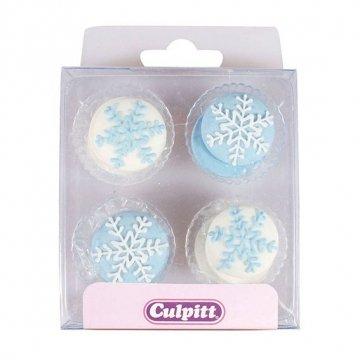 12 décors en sucre flocons de neige - Culpitt