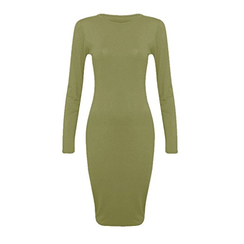 New Women's Pencil Ladies Long Sleeves Plain Bodycon Midi Dress Olive Green