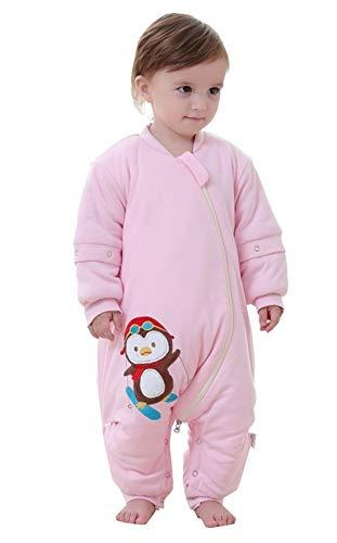 Chilsuessy Unisex Baby Winter Schlafsack mit Beinen abnehmbar Langarm Schlafanzug Spielanzug Schneeanzug Kleinkinder Schlafsäcke mit Füßen, Pink/2.5 Tog, 90/Koerpergroesse 100-110cm