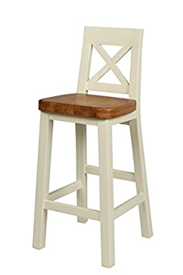 Cream Painted Kitchen Bar Stool - Chunky, cream painted fully assembled wooden bar stool with cross back, solid oak seat and foot rest.