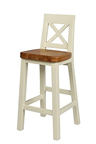Fully Assembled Cream Painted Kitchen Bar Stool - Chunky, cream painted wooden bar stool with cross back, solid oak seat and foot rest.