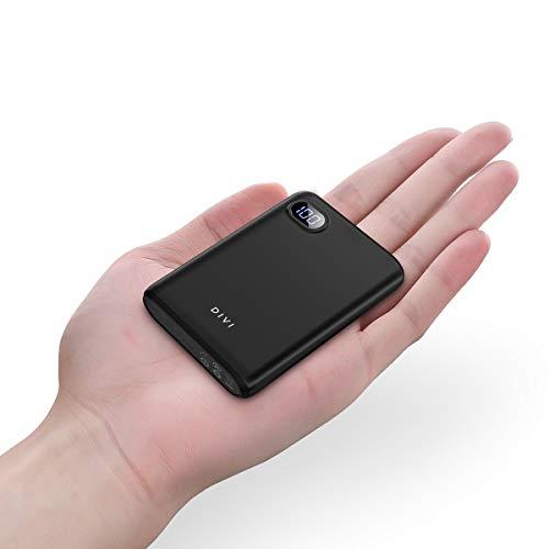 DIVI Powerbank 10000mAh, Kompakte Externer Akku Handy Ladegerät Power Bank Pack mit Hohe Kapazität 2 USB Ausgängen für iPhone, iPad, Samsung Galaxy und Viele Mehr by AINOPE (Schwarz)