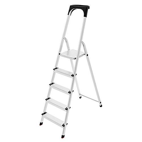 SONGMICS leiter 5 stufen, haushaltsleiter, inklusive Ablageschale, TÜV SÜD GS geprüft nach EN131, bis 150 kg belastbar, rutschfeste Stehleiter GLT05BS