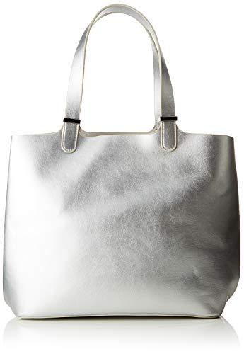 PIECES Damen Pcmadison Shopper Schultertasche, Grau (Silver), 17x27x30 cm Metallic-schuhe