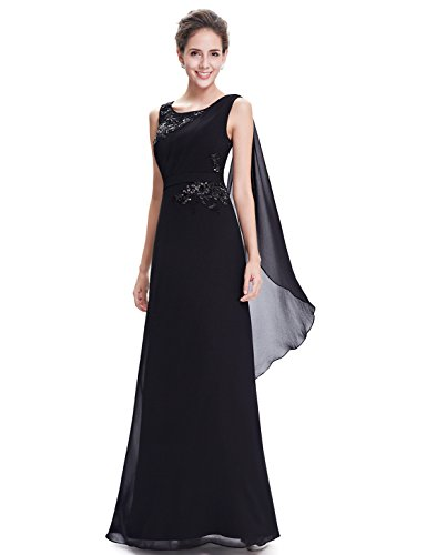 Ever Pretty Damen Elegant Rundhals Chiffon Party Abendkleid 08693 Schwarz