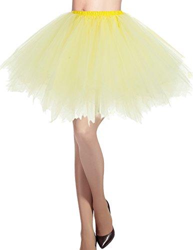 Dresstells Damen Tüllrock 50er Rockabilly Petticoat Tutu Unterrock Kurz Ballett Tanzkleid Ballkleid Abendkleid Gelegenheit Zubehör Yellow L