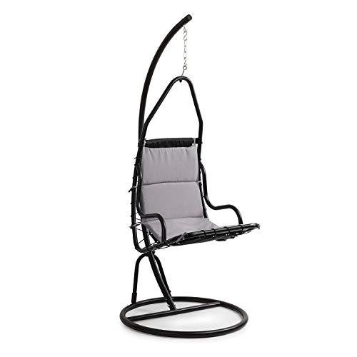 blumfeldt Serramazzoni EggChair Hängesessel - mit weichem Sitzpolster, verstellbare Sitzhöhe von 55-70 cm, Material Sitzpolster: Baumwolle/Polyester, Standfuß aus Stahl, grau