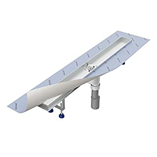 Shower drain channel 900 mm AQUABAD® SDS Pro made of stainless steel / with hair filter and odour trap / with Viega vertical siphon (cover for shower channel not included!)