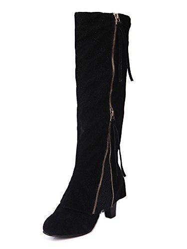 Minetom Damen Quaste Spitze Kniehohe Stiefel mit Hohen Absätzen Reißverschluss Rutschfest Lang Stiefel Schneestiefel Warm Boots Schwarz EU 40 (Kniehohe Stretch Stiefel Stiletto)