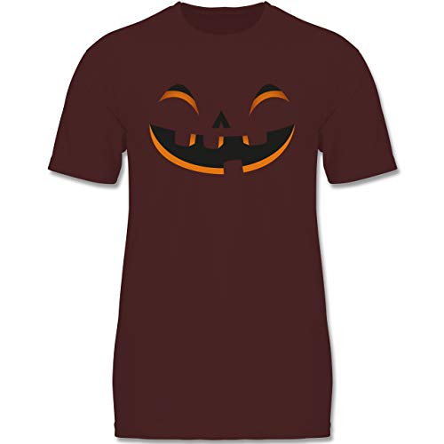 (Karneval & Fasching Kinder - Kürbisgesicht Kostüm - 98-104 (3-4 Jahre) - Burgund - F140K - Jungen T-Shirt)