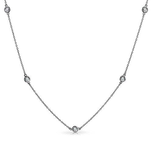 Station klare Zirkonia CZ durch die Werft Tin Cup Kette Wrap Layer Halskette für Frauen 925 Sterling Silber 16 Zoll - Cup-halskette Tin