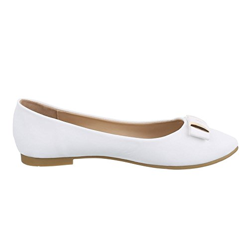 Ballerinas Damen Schuhe Geschlossen Blockabsatz Blockabsatz Ital-Design Ballerinas Weiß