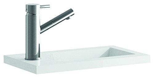 Cygnus Bath Resina - Lavabo carga mineral mini para lavamanos (40 cm) color blanco brillo