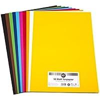 perfect ideaz Papel tintado A3 50 hojas de colores, en 10 colores diferentes, grosor de 130g/m², Papel para manualidades de la mayor calidad