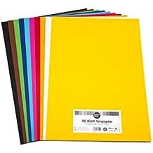 perfect ideaz 50 Blatt buntes DIN-A3 Ton-Papier, Ton-Zeichen-Papier bunt, Set aus 10 Farben, bunte Blätter in 130g/m², Bastel-Bogen farbig, Zubehör zum Basteln, Material durchgefärbt, DIY-Bedarf