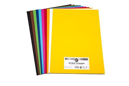 perfect ideaz 50 Blatt buntes Ton-Papier A3 Format, Tonzeichen-Papier, durchgefärbt, 10 Farben, 130g/m², Bastel-Bögen in hochwertiger Qualität