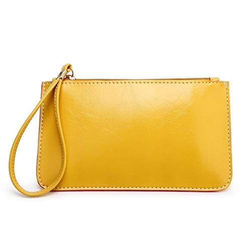 Umschlag Tag Clutch Bag Damen Leder Handtasche Handtasche Portemonnaie Damen Portemonnaie 9x19cm gelb -