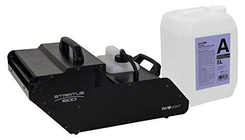 Involight STRATUS 1500 DMX Hazer Set (Professioneller Hazer mit 1500W, DMX-Steuerung & Timer inkl. 5L Nebelfluid auf Wasserbasis & geruchlos) Schwarz