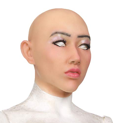 PINGJIA Crossdresser Silikon Weibliche Maske Realistische Transgender Latex Sexy Cosplay für Männer Echte Halloween Party Supplies (Für Halloween-make-up Mann Den)
