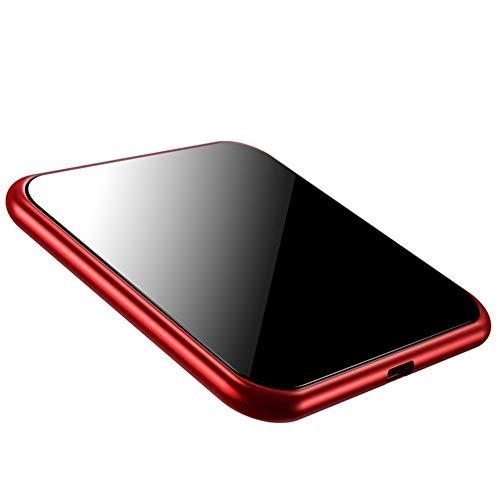 ZUKN Qi 10W Schnelle kabellose Ladestation mit Metallschnellladestation für iPhone, Galaxy, Huawei, Xiaomi und andere Smartphone-Ladestationen,Red