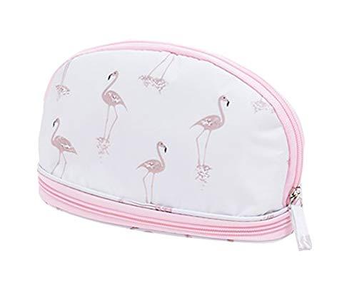 JooNeng Damen Make-up-Tasche, doppelschichtig, Kosmetik-Organizer, niedliche Reisetasche, kleine Kulturtasche für Frauen White flamingo (Niedliche Make-up-taschen)